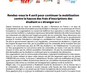 Appel intersyndical du 4 avril contre l'augmentation des droits d'inscription pour les étrangers extra-communautaires